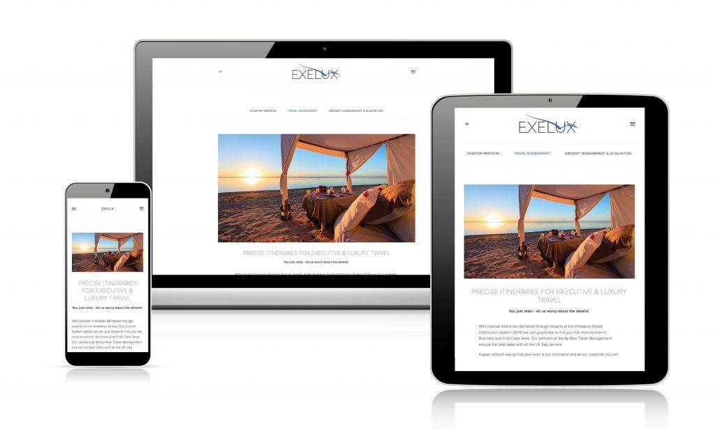 Apricity Solutions UK portfolio web design Exelux Travel responsive