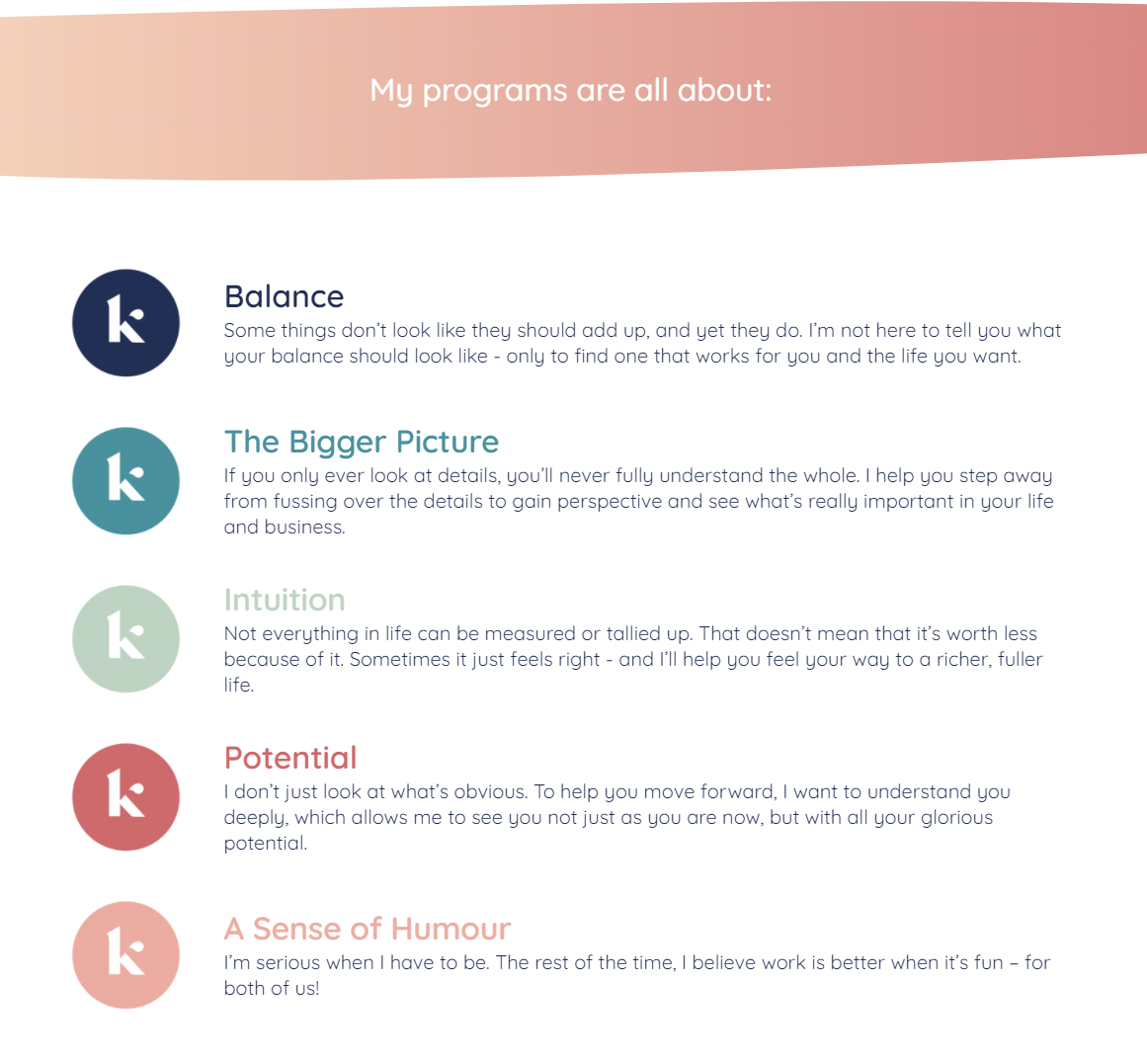 Kerry Bellamy rebrand website content and values